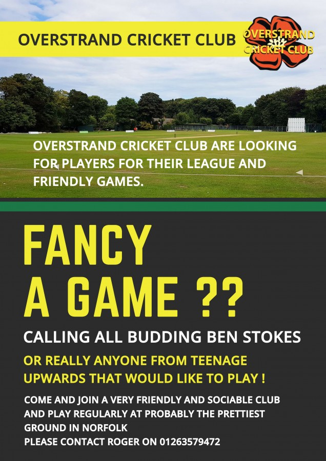 Overstrand Cricket Club Player Recruitment Poster