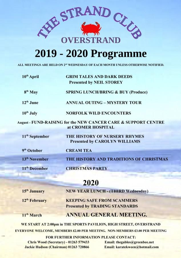 Strand Club Programme 2019-20
