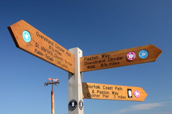 Signpost showing local walks from Overstrand, Norfolk