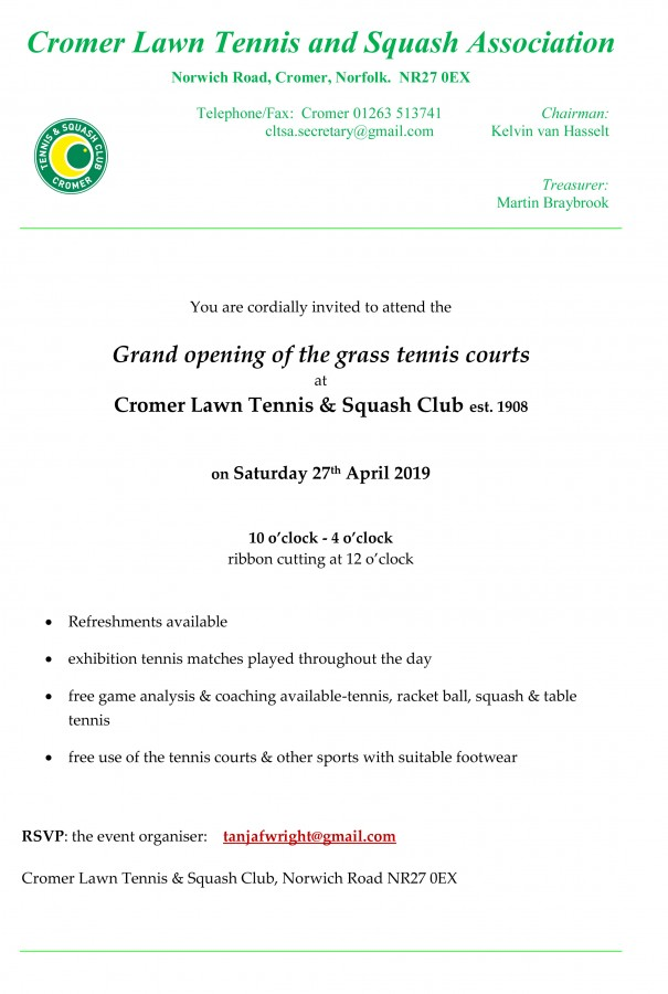 Grass Courts Opening Letter