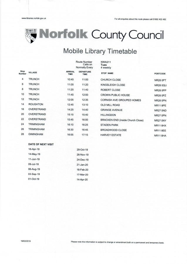 Mobile Library Timetable