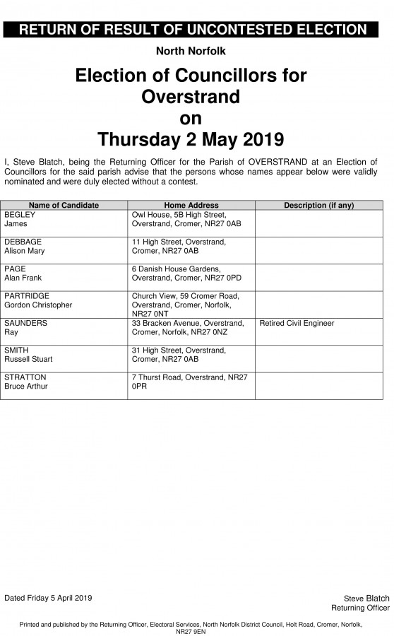 Election of Councillors for Overstrand
