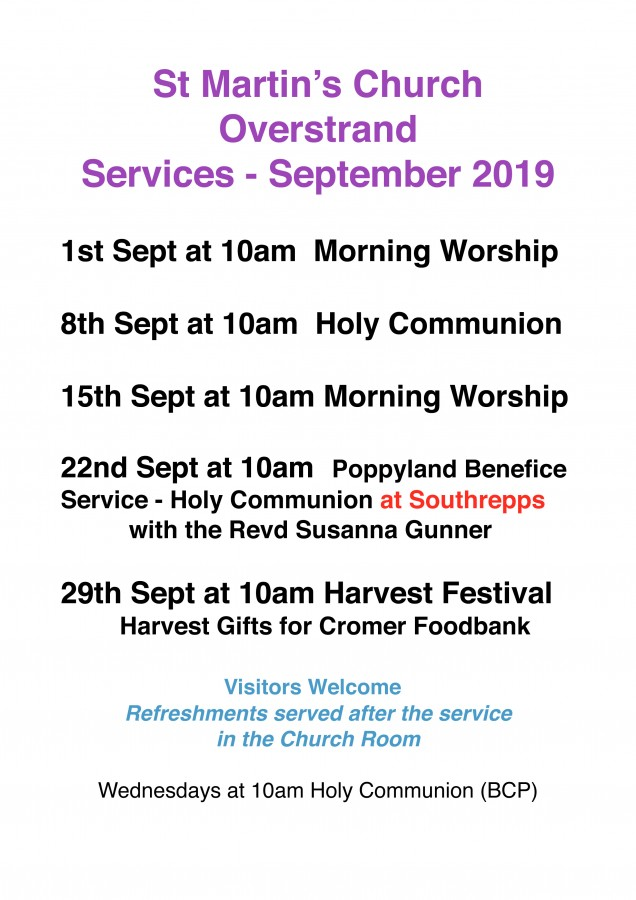 Church Services for September 2019