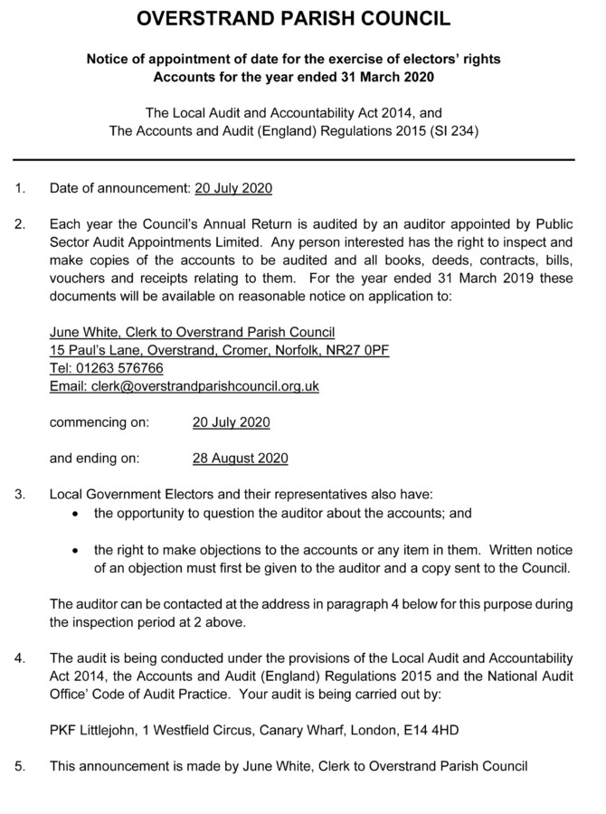 Electors Rights Notice - Accounts Year Ended 31 March 2020